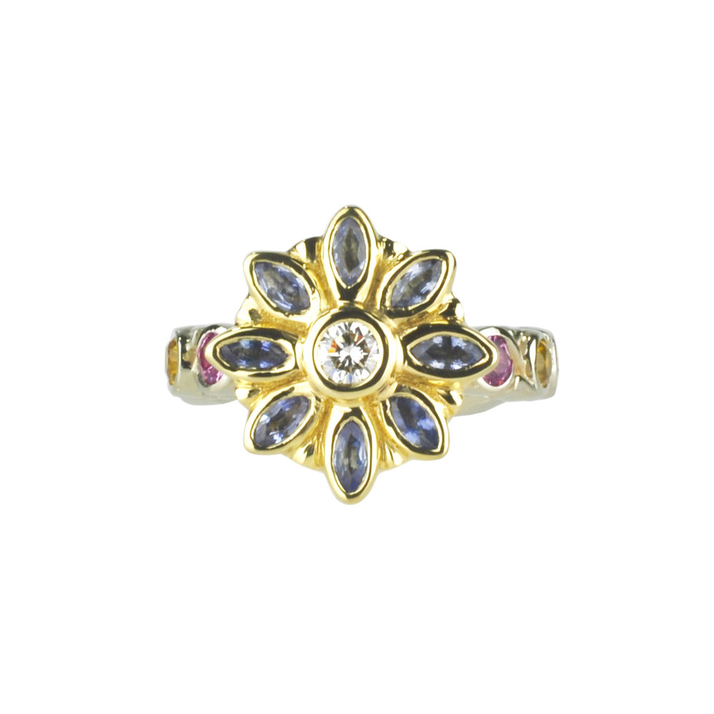 Sapphire and Diamond Flower Ring by Waylon Rhoads Jewelry