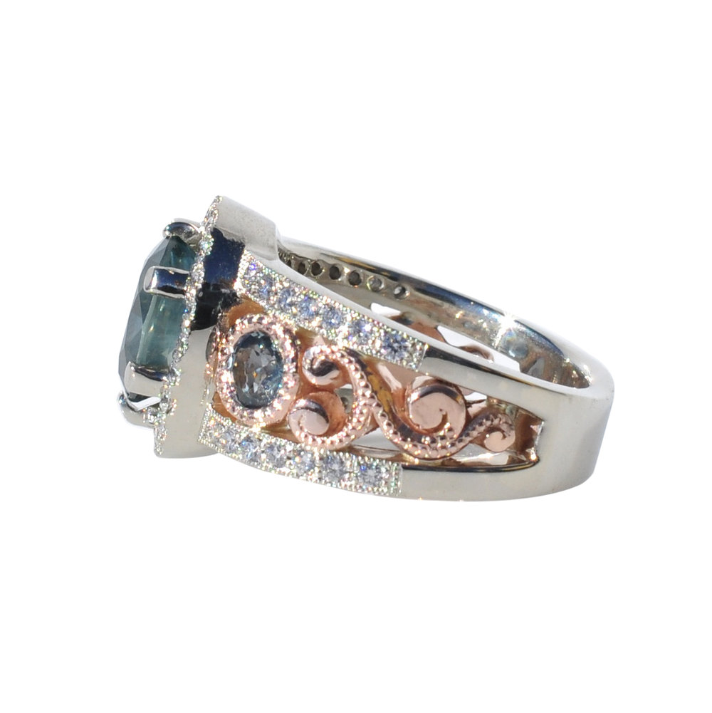 14k White and Rose Gold Ring with Montana Sapphires and Diamonds by Waylon Rhoads Jewelry