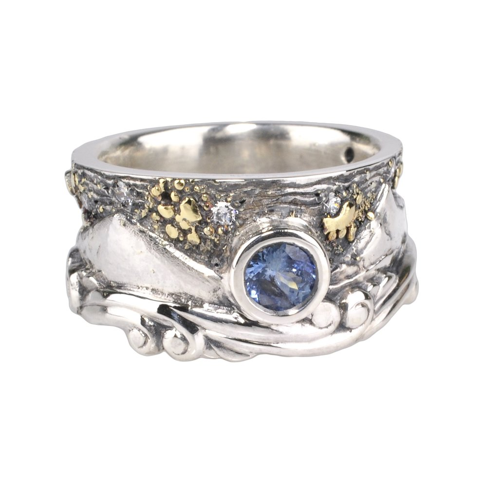 Black Butte and Mt. Jefferson Landscape Ring with Montana Sapphire and Diamonds andBlack Butte and Mt. Jefferson Landscape Ring with Montana Sapphire and Diamonds with Gold Fusion Gold Fusion
