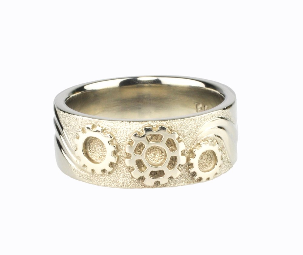 14k White Gold Sprocket and Waves Ring by Waylon Rhoads Jewelry