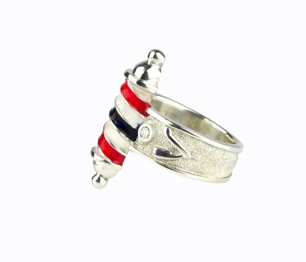 Barber Pole Ring with Enamel and Diamonds by Waylon Rhoads Jewelry