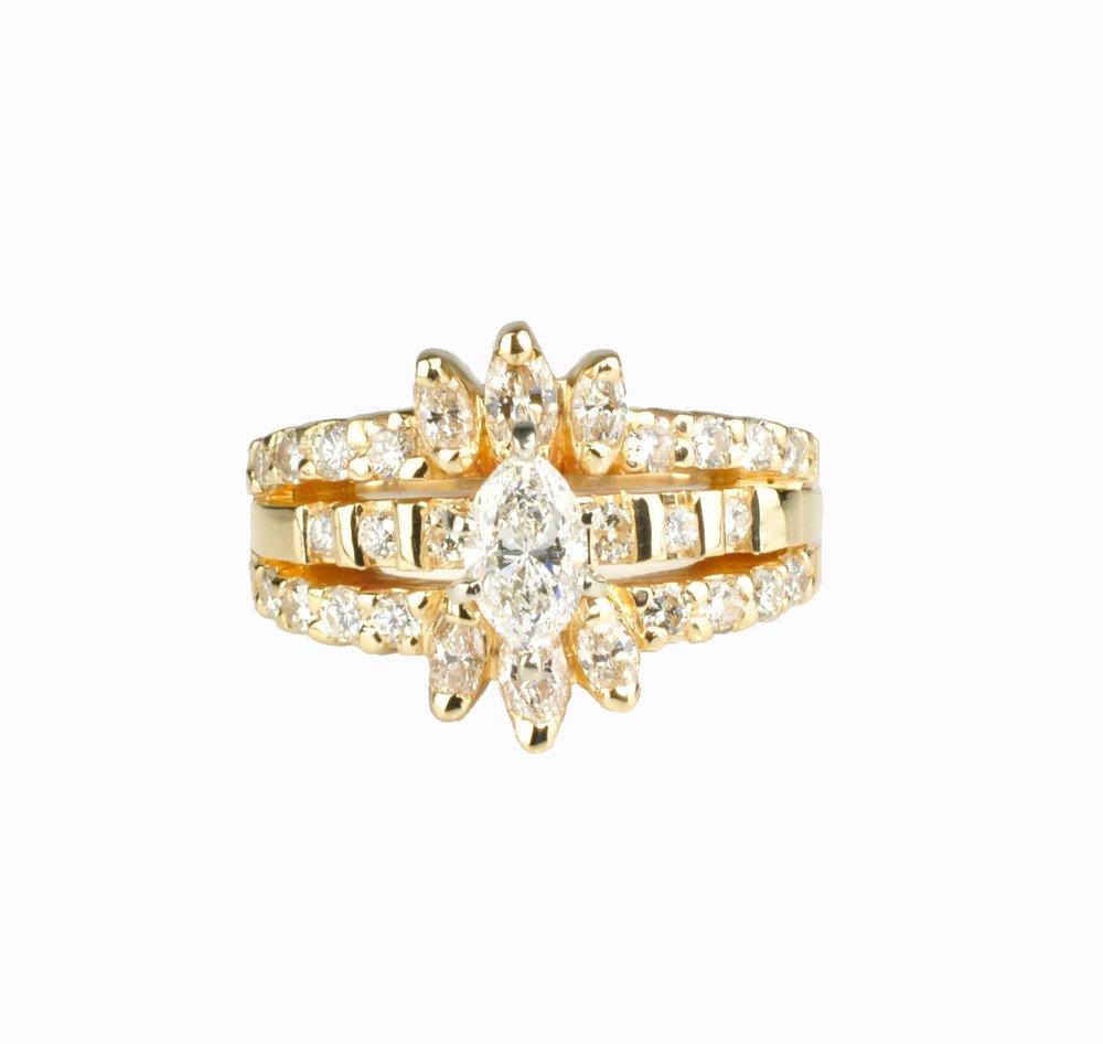 14k Gold and Diamond Wedding Set by Waylon Rhoads Jewelry