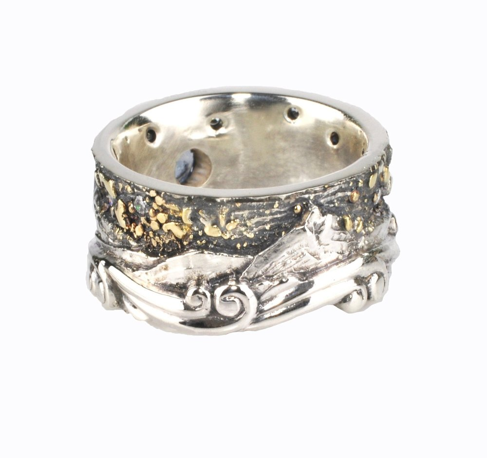 Black Butte and Mt. Jefferson Landscape Ring with Montana Sapphire and Diamonds with Gold Fusion