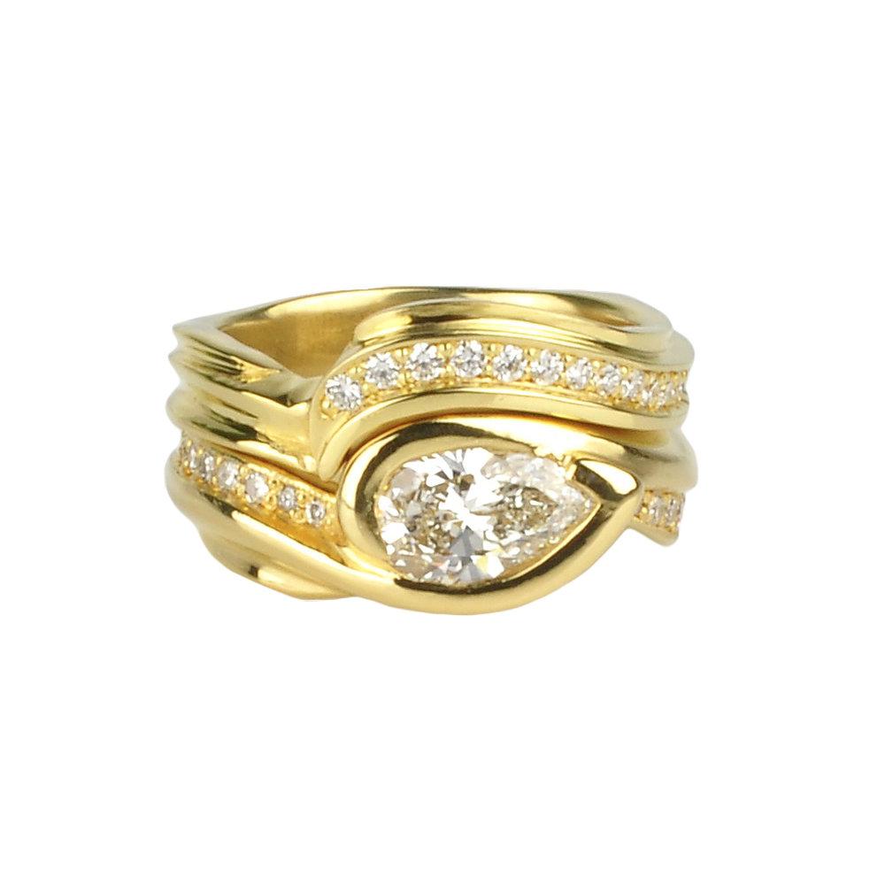 22k Gold Wedding Set with Diamonds by Waylon Rhoads Jewelry