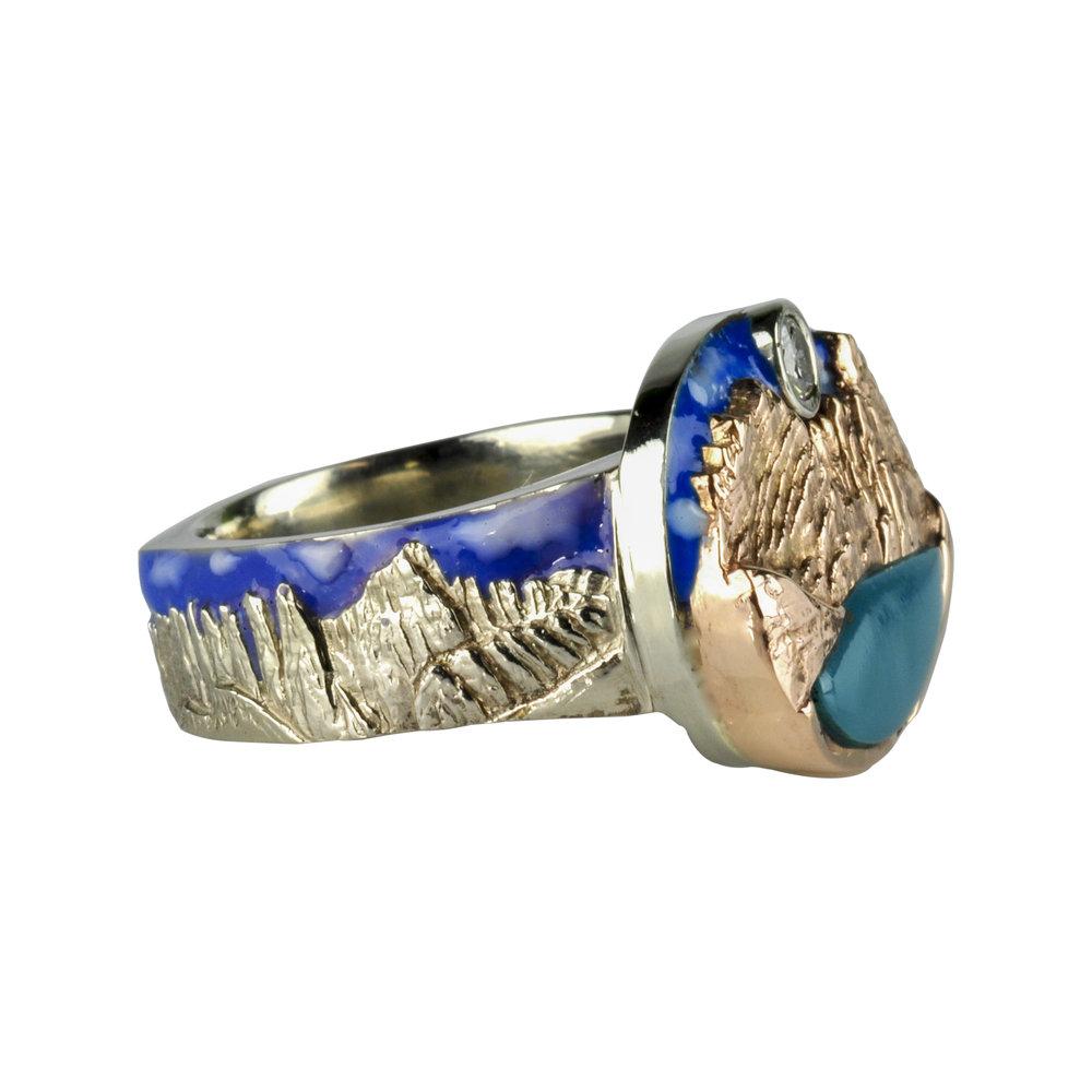 14k White Gold and 14k Rose Gold Broken Top Ring