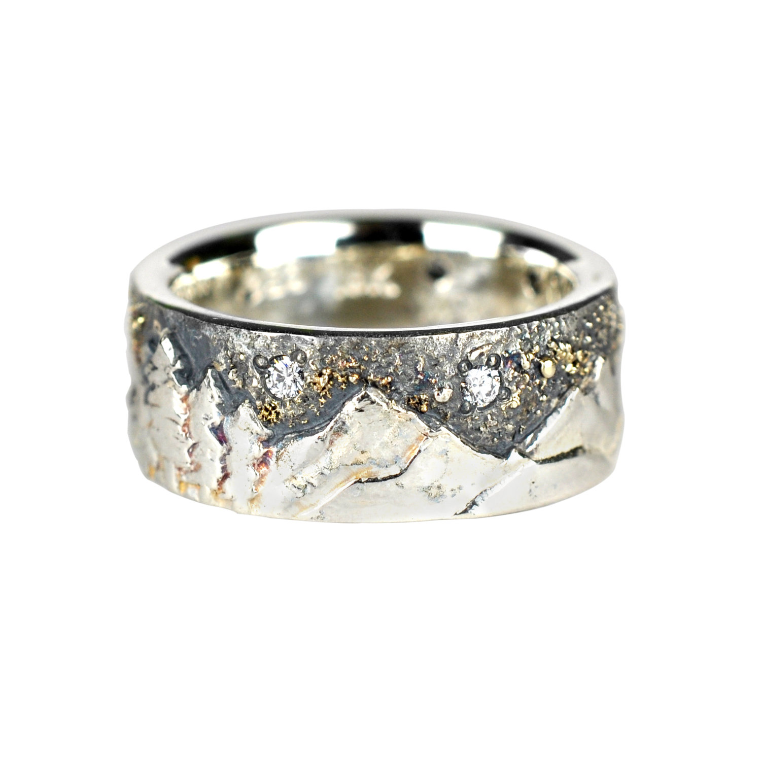 Mountain Landscape Ring with Gold Fusion and Diamonds — Waylon ...