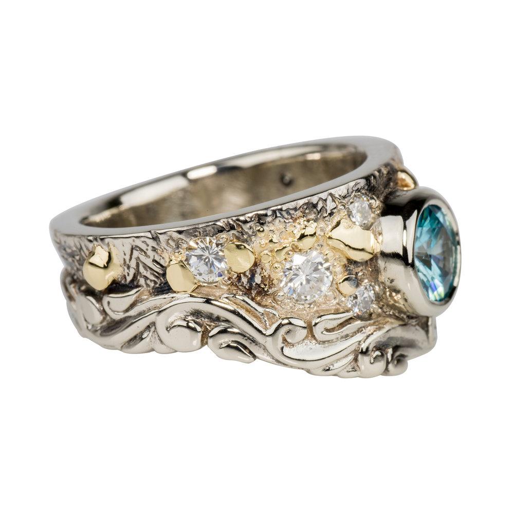 Blue Zircon Fusion Scroll Ring