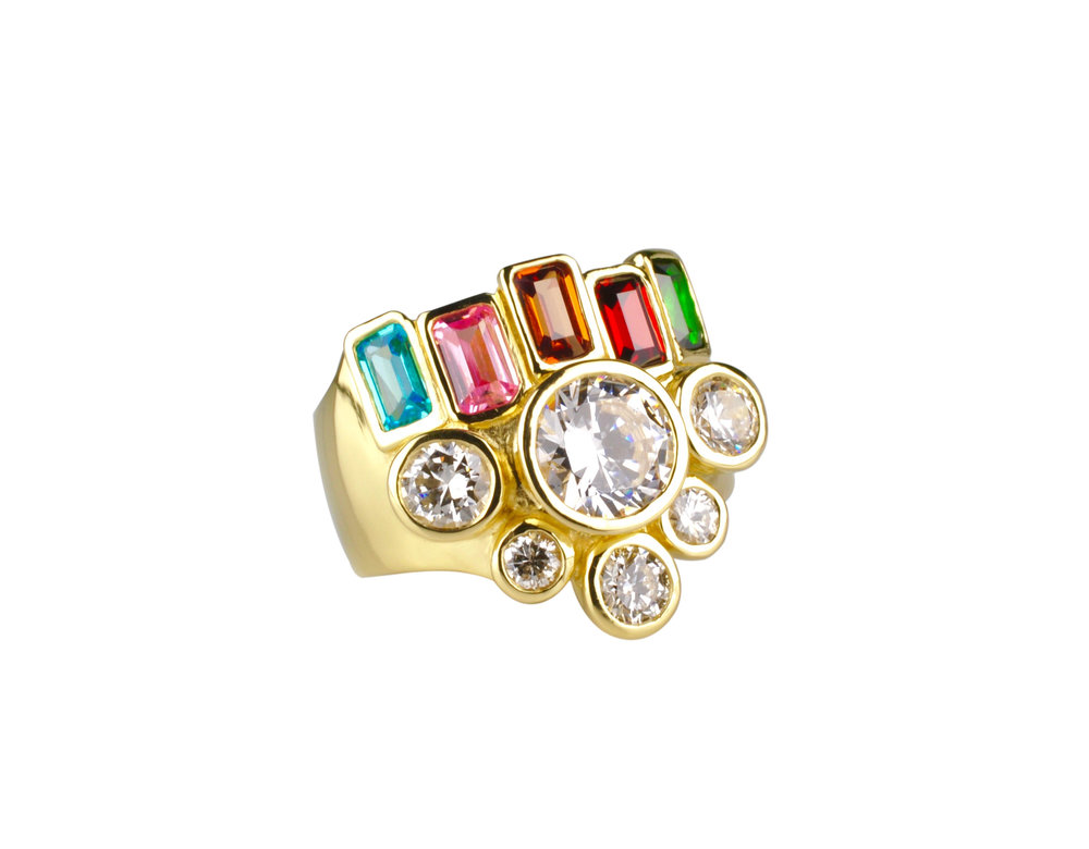 18k Gold Ring with Colorful Emerald Cut CZ's and Diamonds