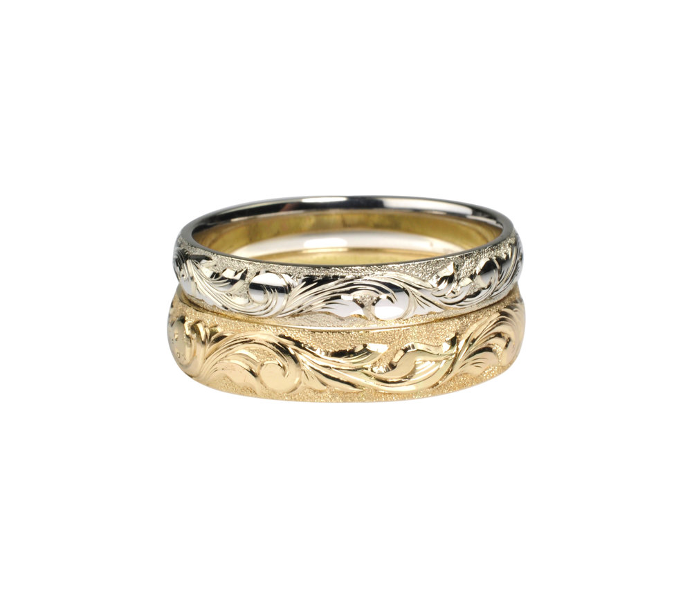 Hand Engraved Gold Rings