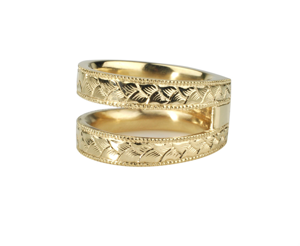 Hand Engraved 14k Gold Ring Guard