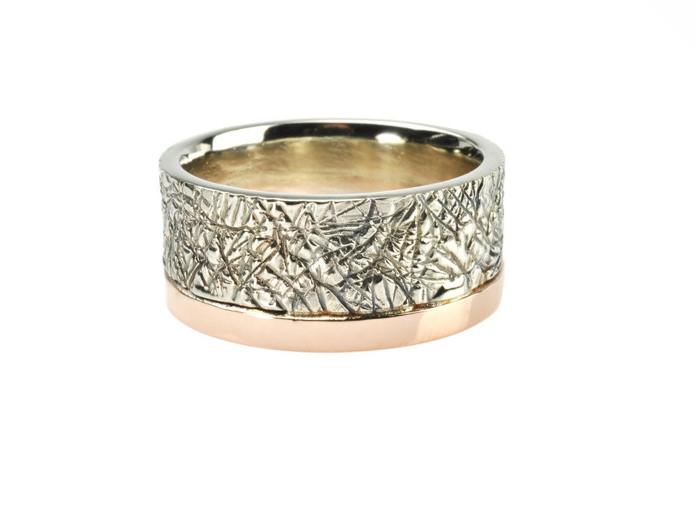 Textured 14k White Gold Ring with 14k Rose Gold Accent