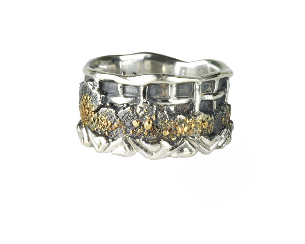 Unique Gold Fusion Wedding Ring with Diamonds