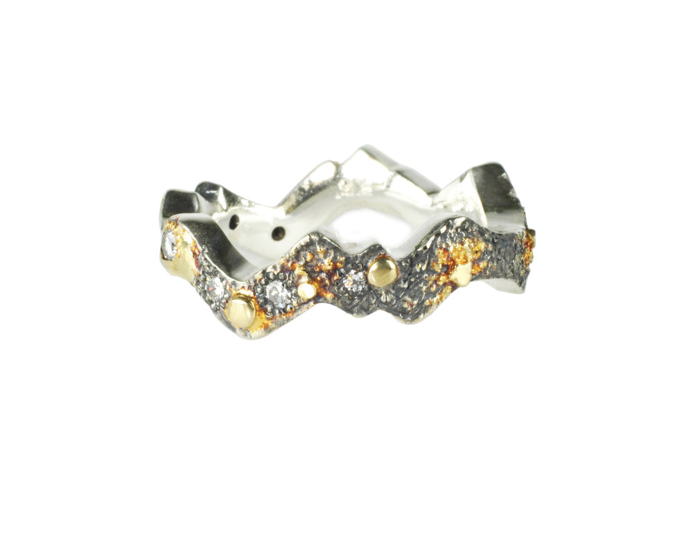 Gold Fusion Landscape Ring with Diamonds