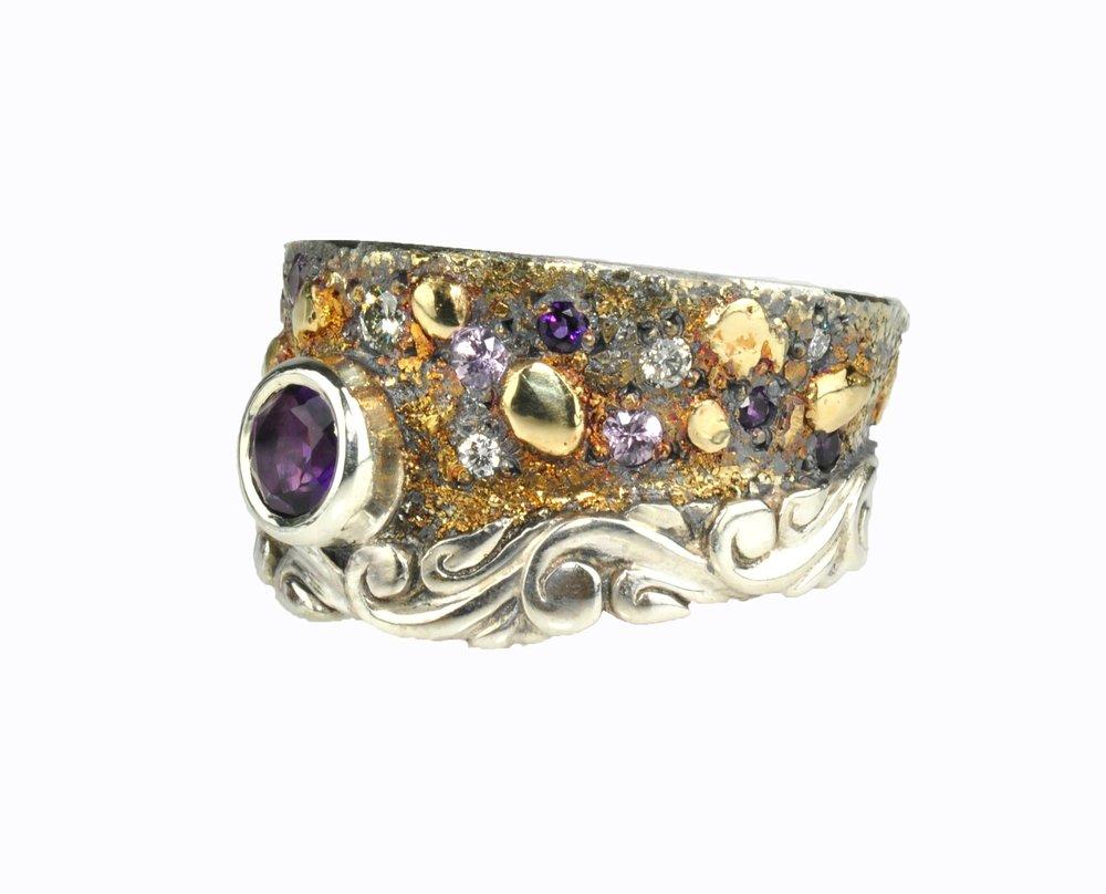 Purple Sapphire Fusion Scroll Ring