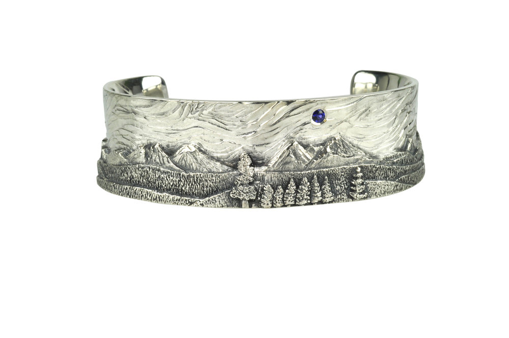 Cascade Mountain Landscape Cuff with Sapphire