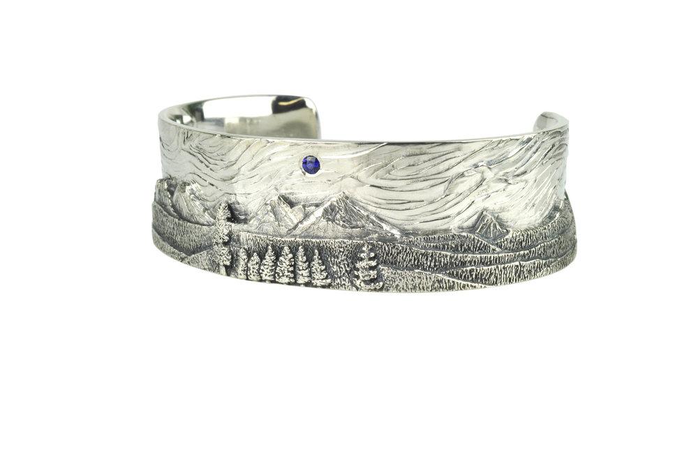 Cascade Mountain Landscape Cuff with Sapphire