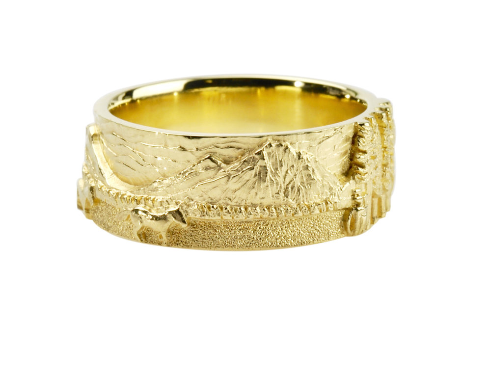 18k gold Cascade Mountain Landscape Wedding Set