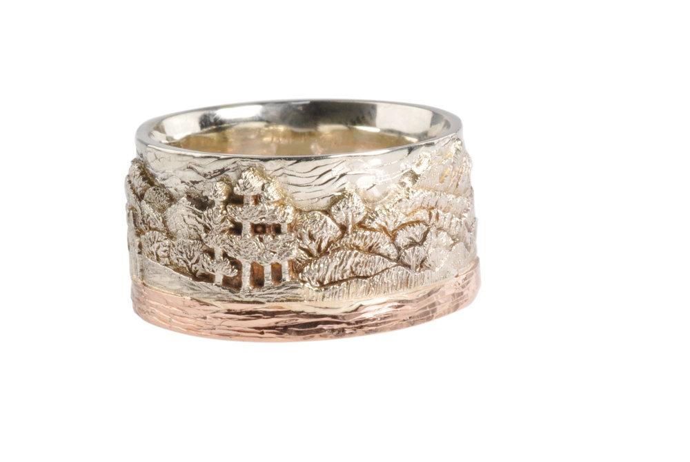 14k White Gold and 14K Rose Gold British Columbia Landscape Ring