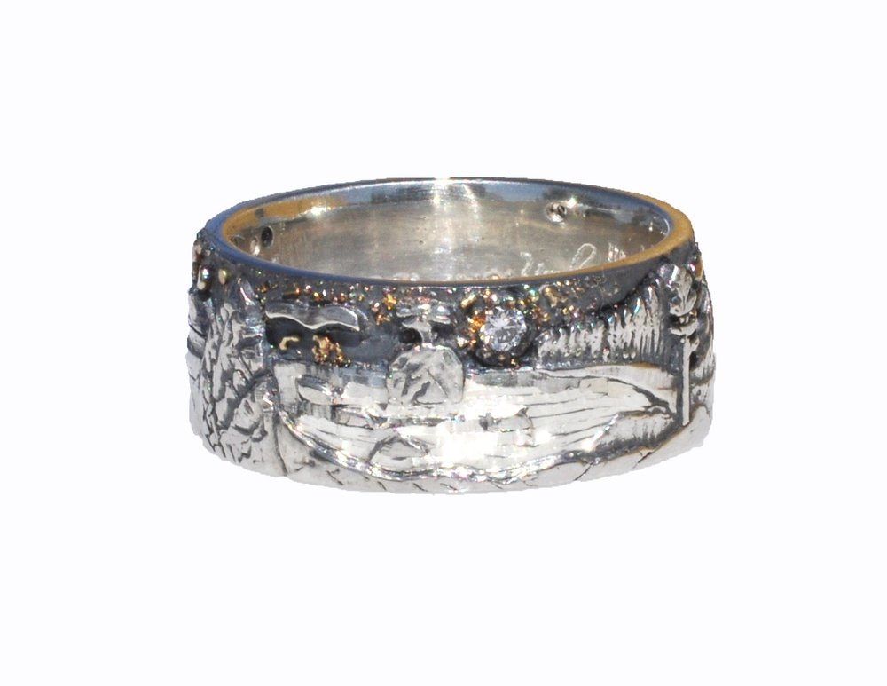 Sterling Silver and 18k Gold Fusion Landscape Ring