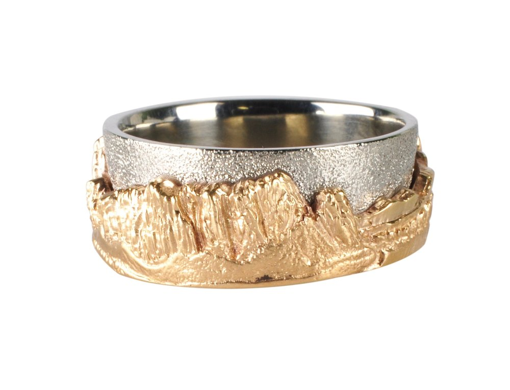 14k White Gold and 14k Yellow Gold Smith Rock Ring