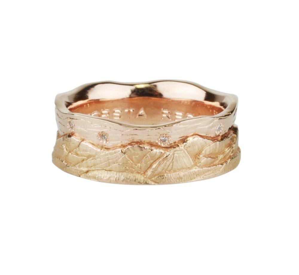 12k Rose Gold and Diamond Mountain Ring