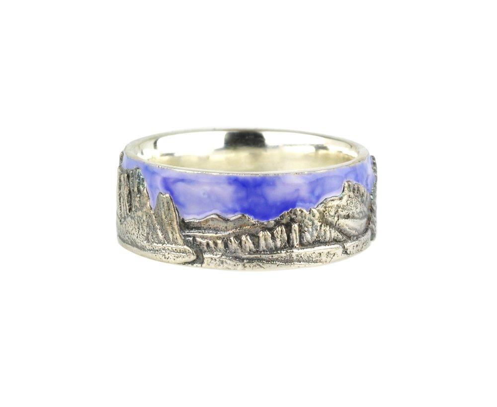 Enamel Sky and Patina Landscape Smith Rock Ring