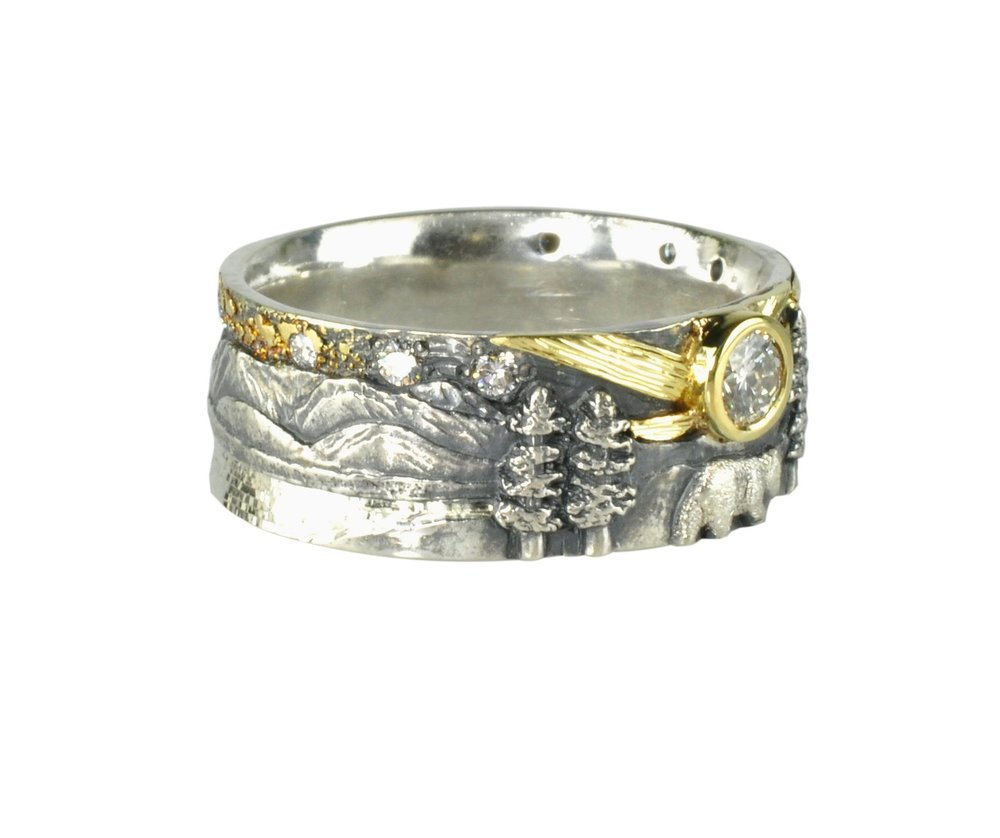 Gold Fusion Lake Tahoe Ring with Bear