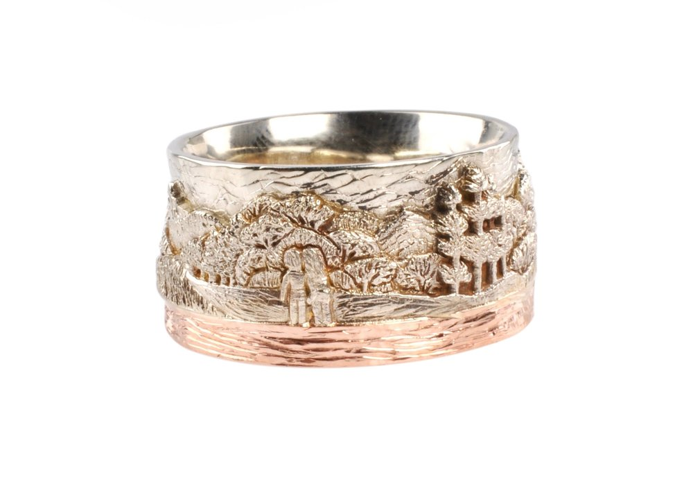 14k White Gold and 14K Rose Gold British Columbia Landscape Ring