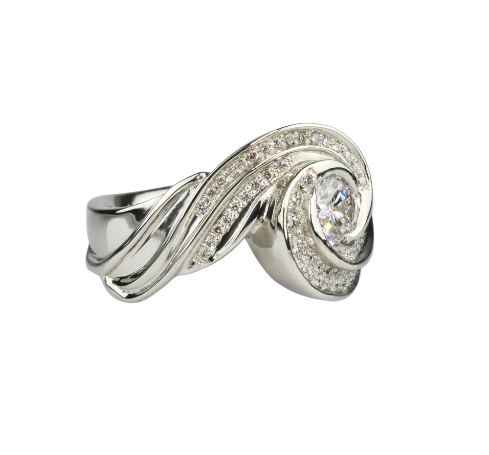 """Galaxy Scroll"" 18k White Gold and Diamond Ring"