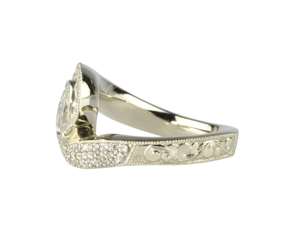 "14k White Gold ""Curves and Swirls"" Diamond Ring with Hand Engraving"