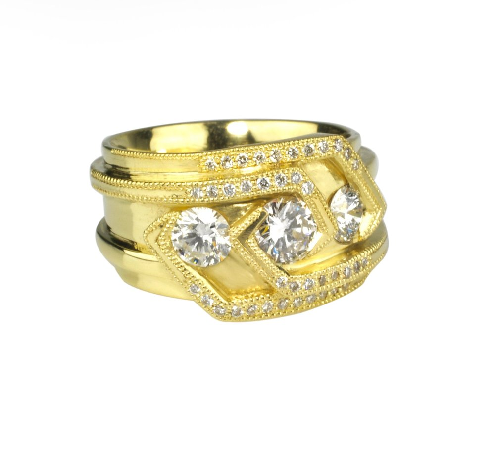 Waylon Rhoads Original 18k Gold Ring with a Trinity of Round Diamonds