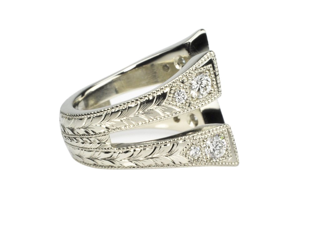 Hand Engrave White Gold Ring Armor with Diamonds