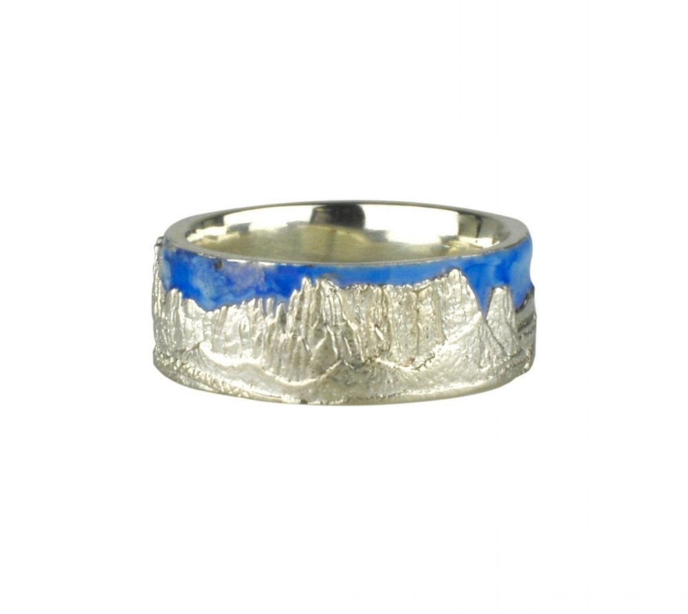 Smith Rock Ring with Enameled Sky