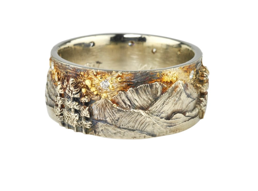 14kw Gold and 14ky Gold Crazy and Beartooth Mountain Ranges Fly Fishing Ring