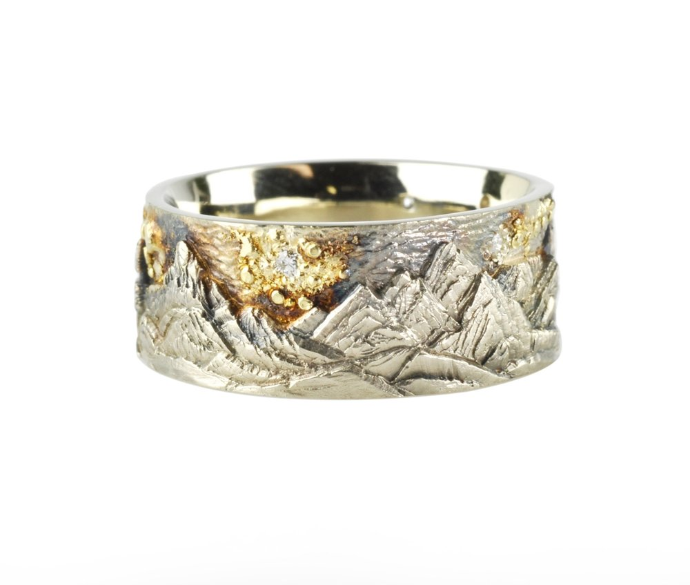 14k White Gold and 18k Yellow Gold Fantasy Landscape Ring