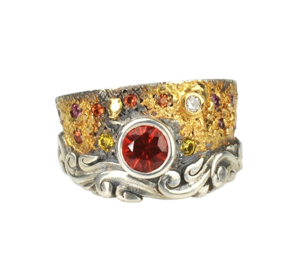 Candy Sapphire Fusion Scroll Ring