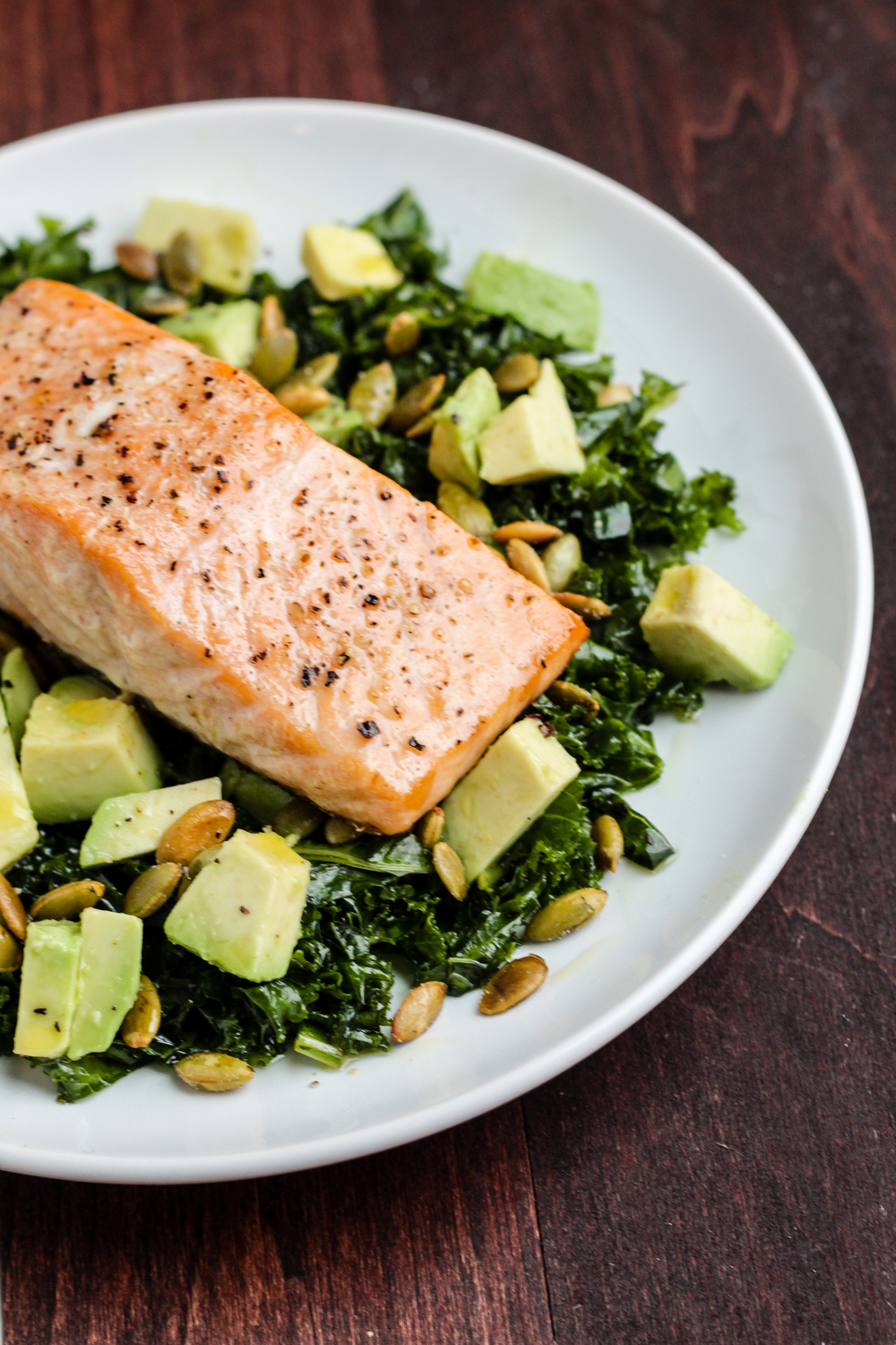 Garlic Salmon with Tangerine Kale Salad
