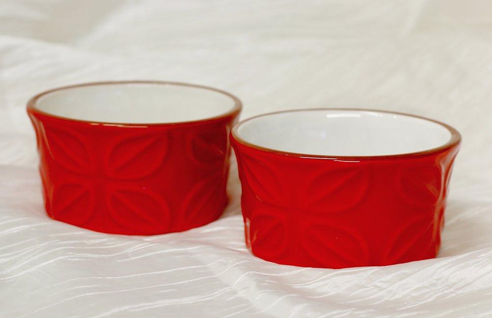 Red Embossed Ramekins ($6 each)