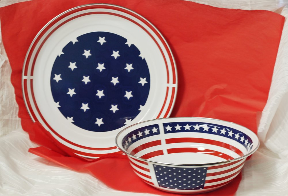 Stars & Stripes Metal Tray ($50) & Bowl ($36)