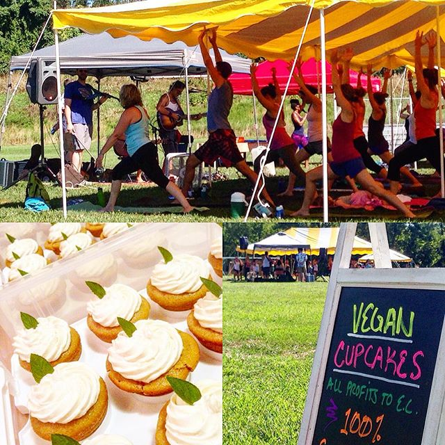 We hope everyone liked their #cupcakes! It was so good to see people out and supporting our city. What a beautiful event the yoga teachers from @gogo_guru put on! Thank you so much for having us.// #ecstrong #vegancupcakes #veganbaked #vegan #dairyfree #donations #ellicottcity #yoga #wellness #supportlocal #local #rebuildec #community #communitylove #bakedgoods #peace #vegantreats #yummy #summertime #courtyardyoga #parkyoga