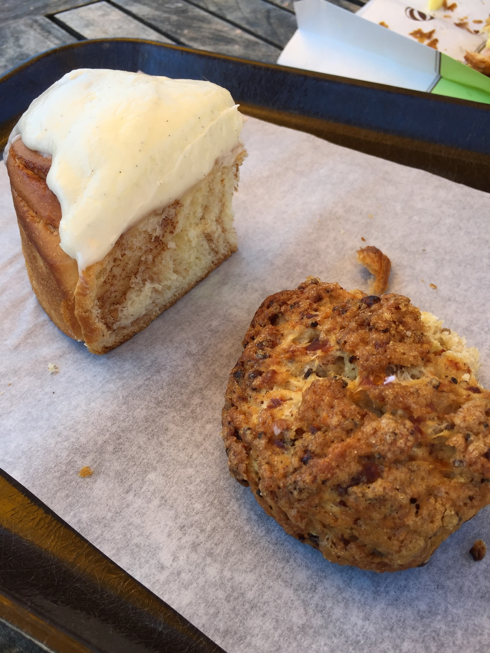 Cinnamon bun and Cheddar Scone, Bouchon Bakery