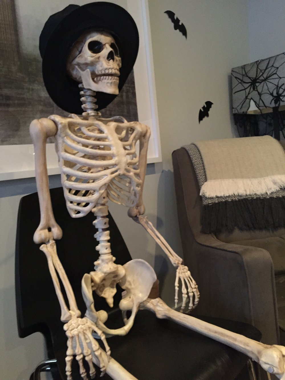 Mr Bones in our home, ready for the party