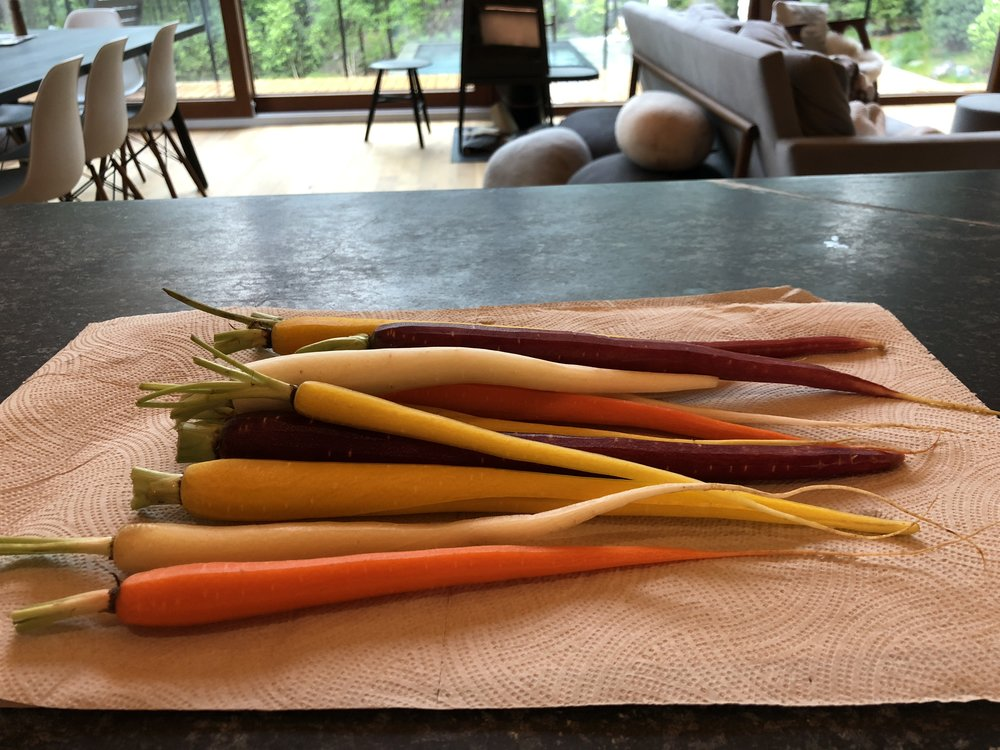 If you can get rainbow carrots they will add beauty to you platter, but regular ones are just as good