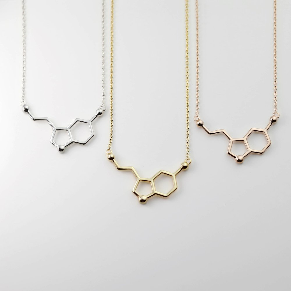 Serotonin Molecule Necklace - From Mignon and Mignon on EtsySerotonin is known as the happy chemical!