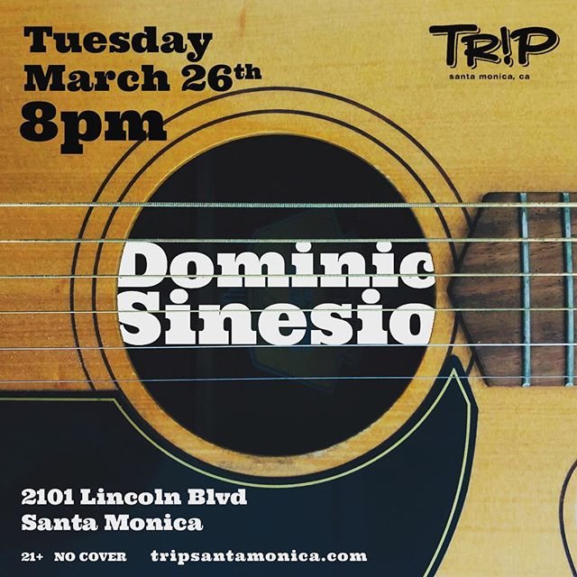 Hello, good people. Opening for The Nick Mancini Collective on Tuesday night.  21+ / NO COVER  Come on out! 🙂  https://www.tripsantamonica.com