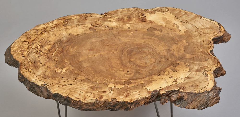 round spalted maple coffee table