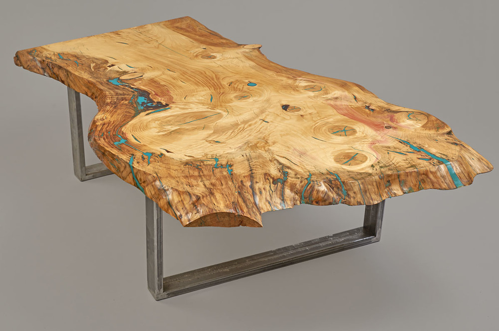 pine coffee table with turquoise acrylic