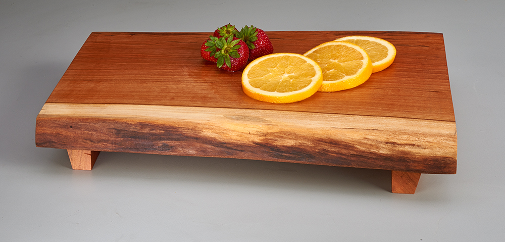 wooden serving tray with feet