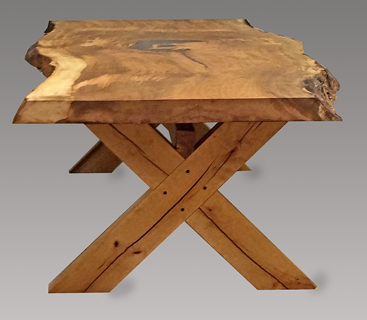 live edge table with wooden cross legs
