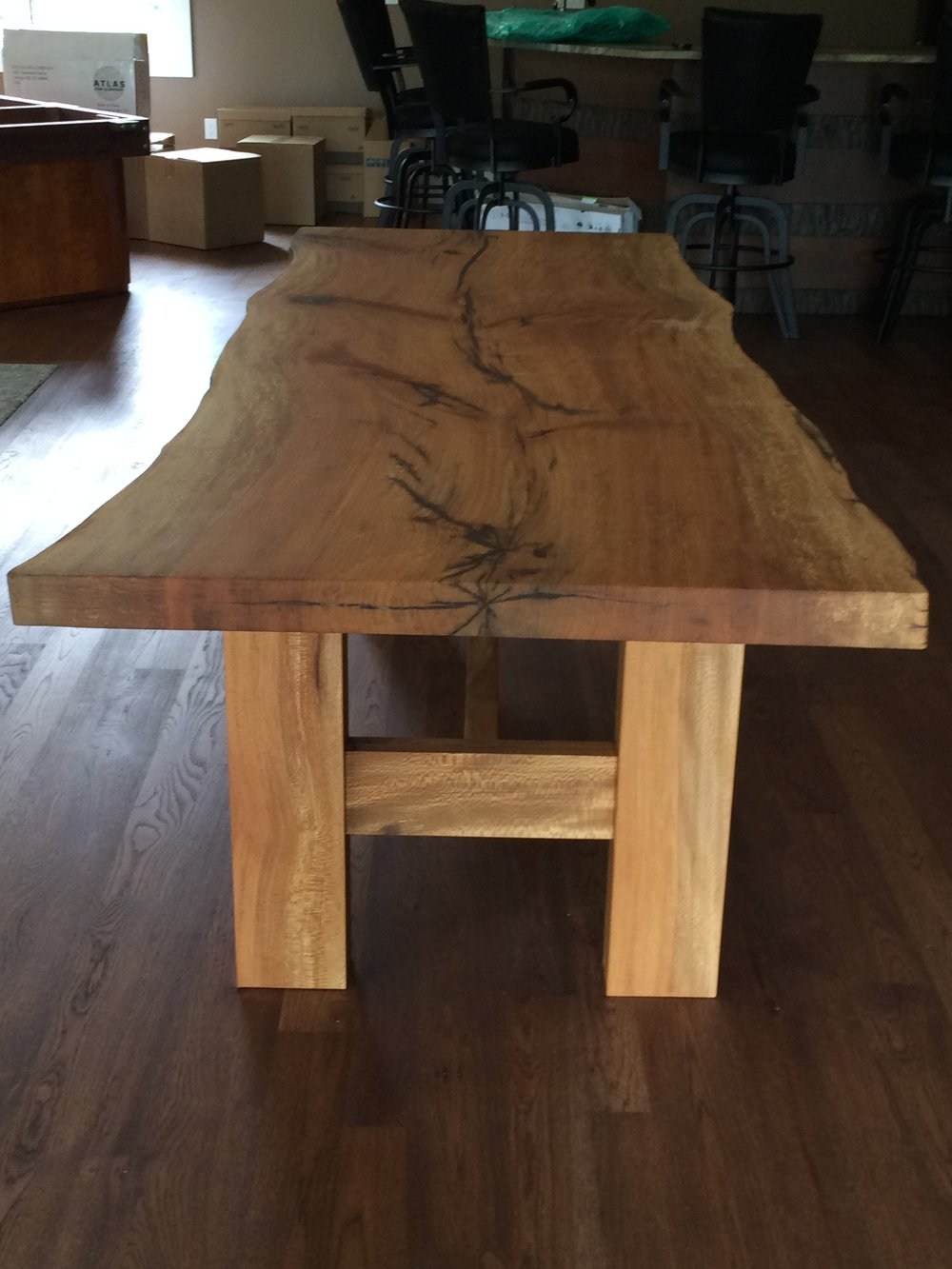 Live edge quarter sawn sycamore dinning room table with mortise and tendon quarter sawn sycamore legs